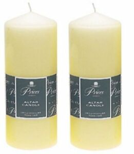 Details about 2 x Price's Large Ivory Church Candles Altar Pillar Candle