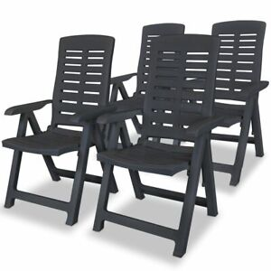 Fine Details About Vidaxl 4X Reclining Garden Chairs Plastic Anthracite Outdoor Foldable Chair Ncnpc Chair Design For Home Ncnpcorg