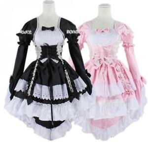 Japan Ruffle Fancy Lolita Princess Dress Maid Outfit Anime Cosplay