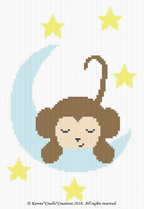SLEEPY BABY BOY MONKEY ON THE MOON Graph//Chart Afghan PATTERN ***EASY
