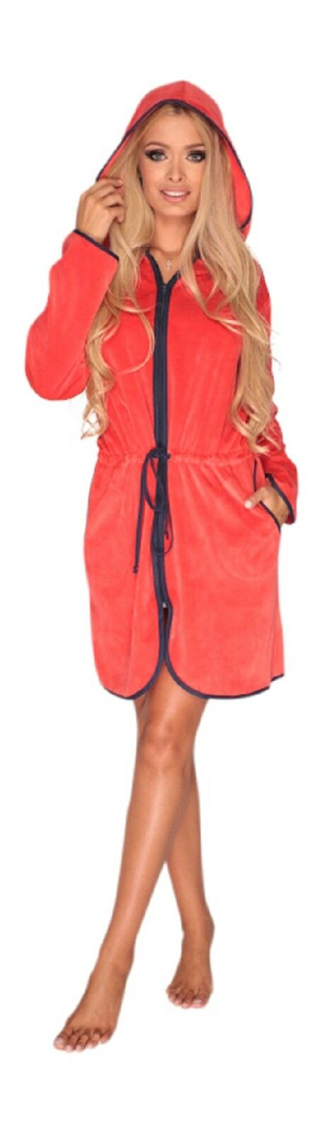 Women Girls Soft Zip Up Hooded Housecoat Robe Cotton Dressing Gown Bathrobe