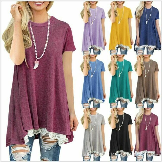 Women's Summer Casual Short Sleeve Solid Loose Tunic Top Shirt Blouse Dress