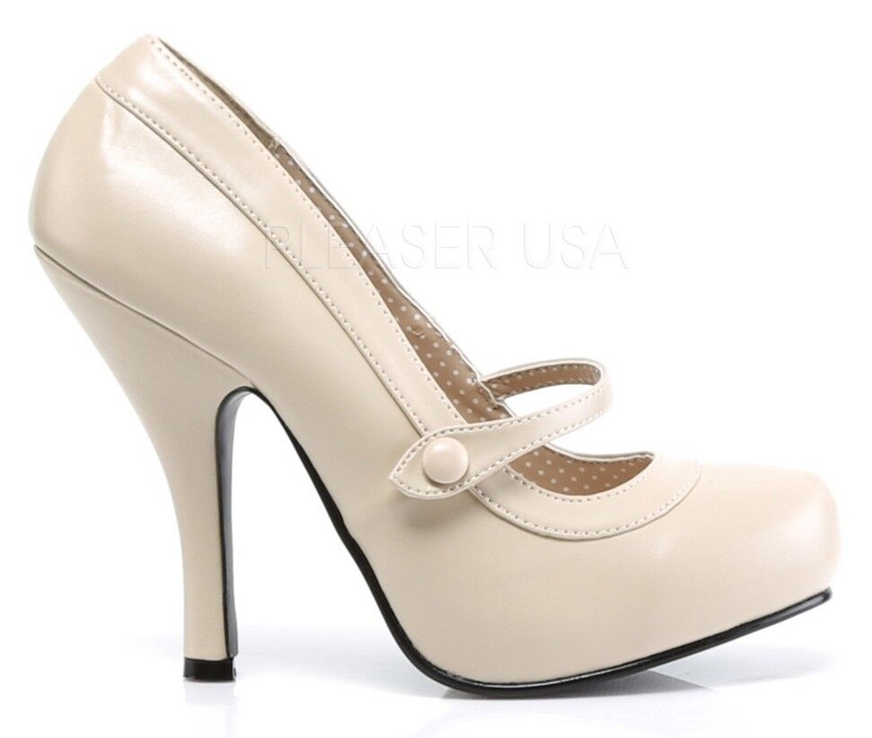 Pin Up Couture Matte Cream 4.5  Heel Mary Mary Mary Jane chaussures Rockabilly 5 6 7 8 9 10 11 0e389d