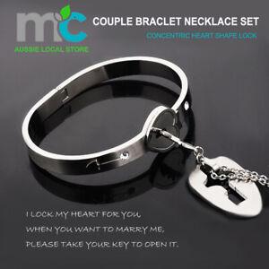 Fashionable Concentric Heart Lock Shape Bracelet Couple Braclet Necklace Set