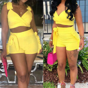 a76e5f1732b Women Summer 2Piece Set Crop Top and Shorts Bodycon Outfit Short ...