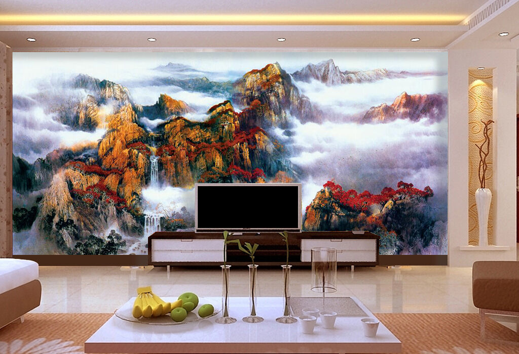 3D Mountain, fog 342 Wall Paper Print Wall Decal Deco Indoor Wall Murals