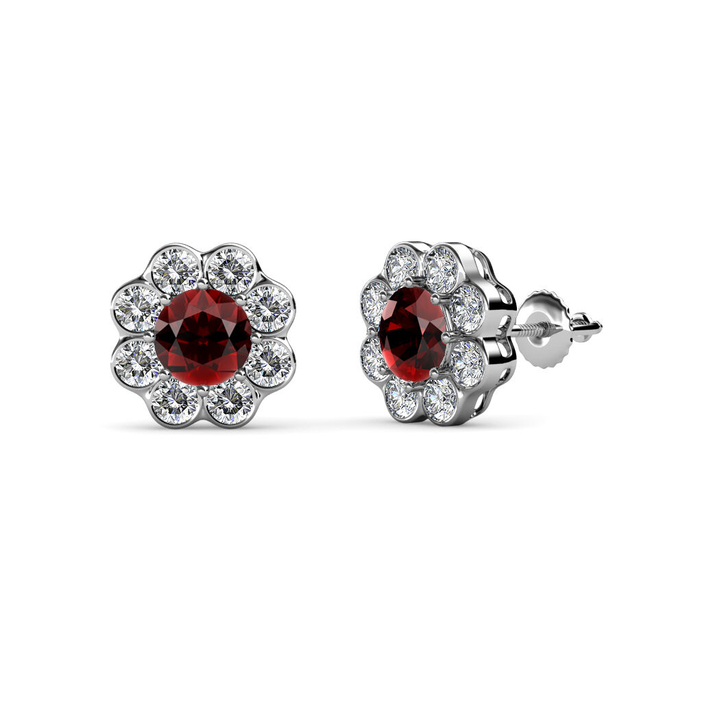 Red Garnet & Diamond (SI2-I1, G-H) Floral Halo Stud Earrings 2.70 ct tw 14K gold