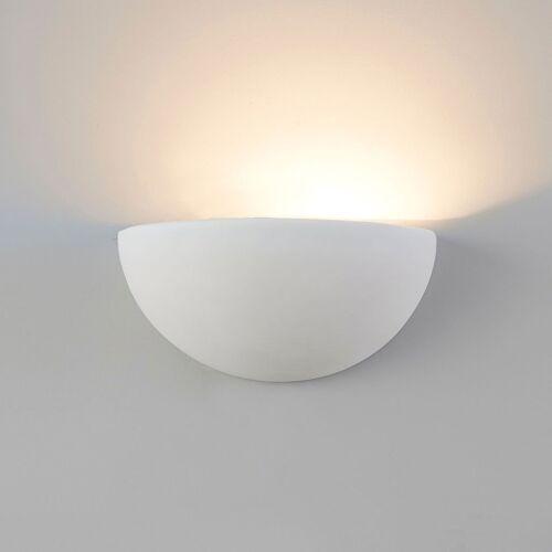 Plaster Uplighter Wall Light Half Moon Paintable Gypsum Light Ceramic E14 SES