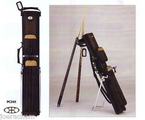 New-J-amp-J-PC24X-2x4-Pool-Cue-Case-with-Stand-Black-with-Brown