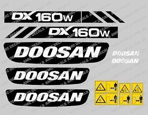DéTerminé Doosan Dx160w Digger Decal Sticker Set-afficher Le Titre D'origine