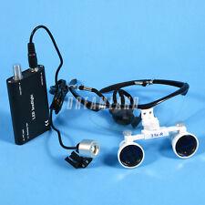 Dental Loupes Kopflupe Magnifier Binokularlupen Lupenbrille+LED Head Lampe Black
