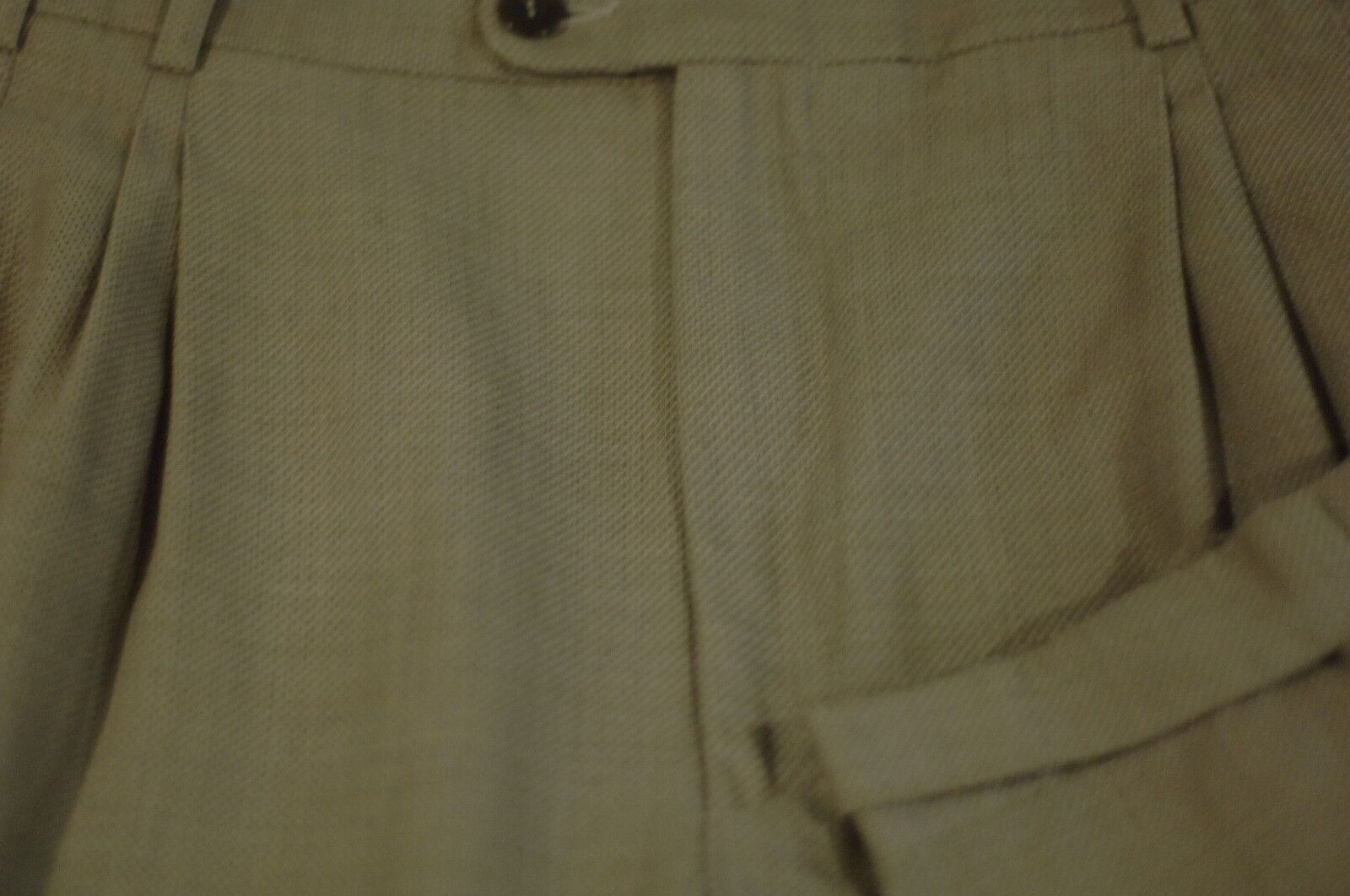 Zanella Men's Olive Green Dobby Weave Wool Pleated Dress Pants 34 x 26