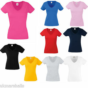 Fruit-of-the-Loom-Ladies-Fitted-V-Neck-T-Shirt-in-9-Great-Colours-and-Sizes-8-18