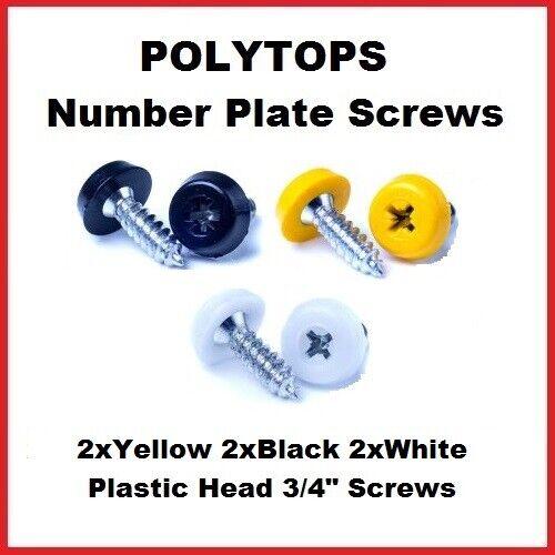 Número De Matrícula Tornillos de gran tamaño superior de plástico blanco 2x 2x Negro 2x Amarillo
