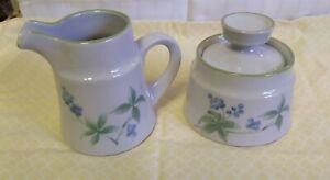 Noritake Stoneware Whisper Blueberry Covered Sugar Bowl & Creamer - Japan