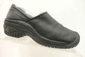 keen black leather slip resistant casual wedge loafer work