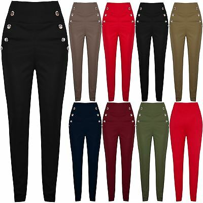 Womens Ladies Front Buttons Pocket High Waisted Skinny Stretchy