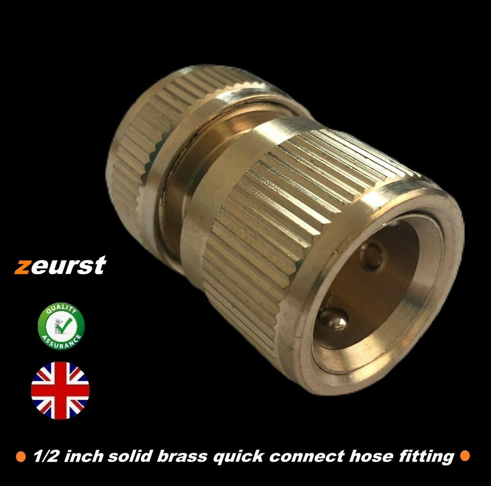 """1/2"""" solid brass snap on quick connector garden hose adaptor Hozelock with stop"""
