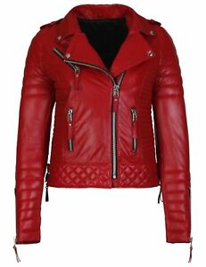 Real Designer Women's Motorcycle Jacket Leather Biker Authentic Lambskin Trendy BwtRYqPn
