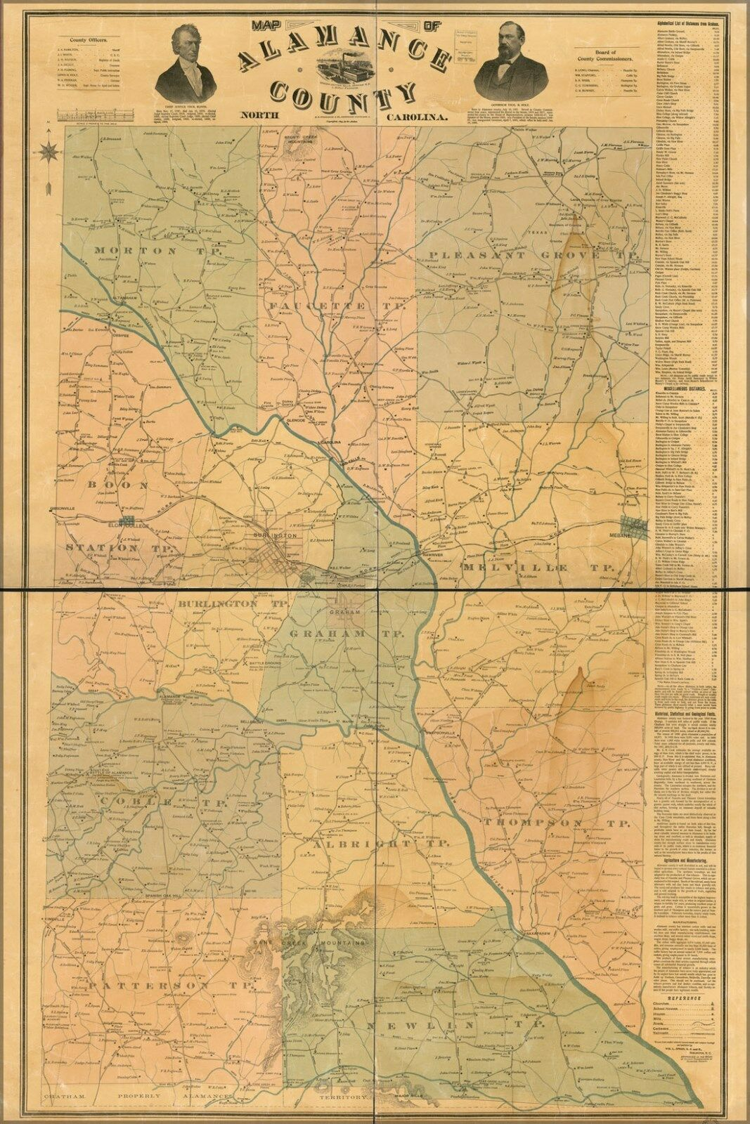 Poster, Many Größes; Map Of Alamance County, North Carolina 1893