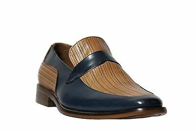 Steven Land Men/'s Two Tone Blue//Latte Leather Slip On Dress Shoes SL0011