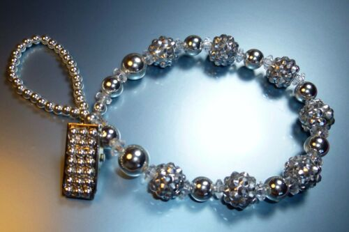 Silver Shamballa Sparkle Special Occasion Crystal Bling Baby dummy pacifier clip