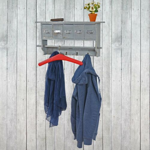 Shabby Look grau mit 5 Schubladen 32x65x13cm Wandgarderobe MCW-C49 Garderobe