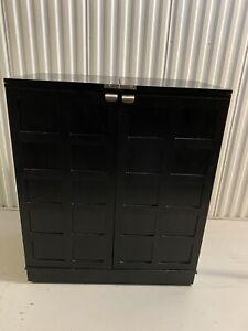 Crate And Barrel Steamer Bar Cabinet Cart Black Wheels Ebay