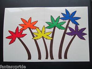 GAY PRIDE RAINBOW PALM TREE STICKER - New