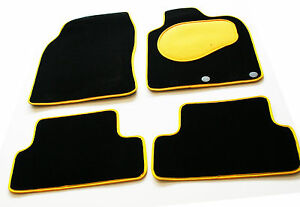 Tailored-Black-Carpet-Car-Mats-with-Yellow-Trim-amp-Heel-Pad-for-Fiat-500X-2015-gt