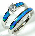 White Topaz & Blue Fire Opal Inlay 925 Sterling Silver Solitaire & Band Ring Set