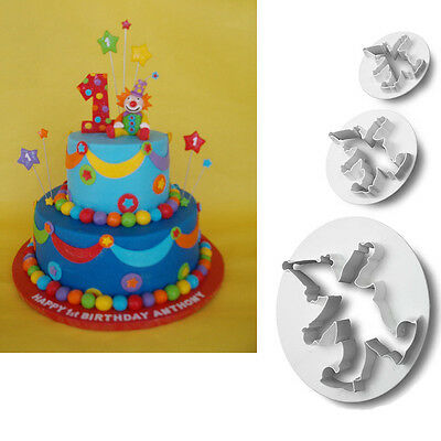 3 xmas Clown Cutters Sugarcraft Fondant Cake Decorating Pasty tools moulds AAC