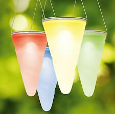 Set of 3 Colour Changing Solar Outdoor Garden Hanging Tree Cornet Cone LED Light