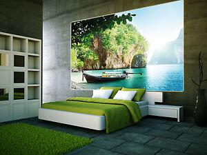 Boot-in-einer-Bucht-XXL-Wanddekoration-Wohnzimmer-paradiesischer-Strand-Poster