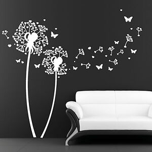11006-Wandtattoo-Herz-Pusteblume-Pollen-Schmetterlinge-Blumen-Deko-Aufkleber