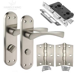 Image is loading New-Bathroom-Door-Handle-on-Plate-Door-Pack-  sc 1 st  eBay & New Bathroom Door Handle on Plate Door Pack Left Hand Door Handles ...