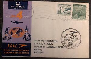 1960-Santiago-Chile-First-Flight-Airmail-Cover-FFC-To-Lisbon-Portugal-BOAC-B