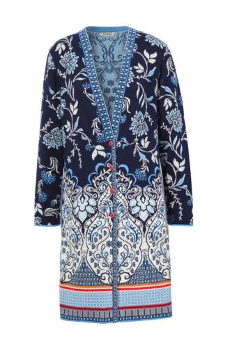 veste ornements Ivko cardigan marine manteau 191102 longue bleu noir WfzBYq