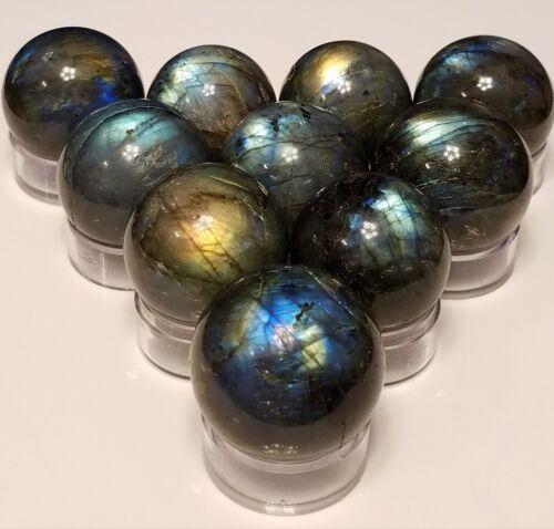 w// stand 1 ech 30-50mm Natural Labradorite Feldspar quartz crystal sphere ball