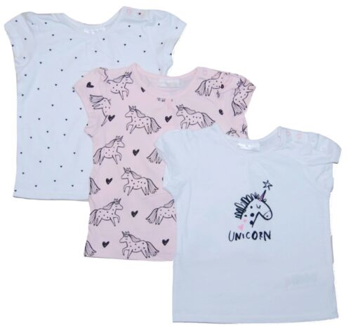 Baby Girl Unicorn T-Shirt Tops Short Sleeved 3 PACK Newborn 18 Months