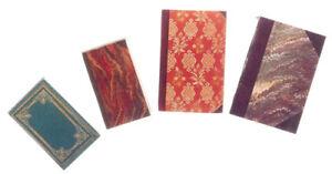 1:12 Maison De Poupées Lot De 4 Livres Vintage Avec Pages G8334-afficher Le Titre D'origine Circulation Sanguine Tonifiante Et Douleurs D'ArrêT