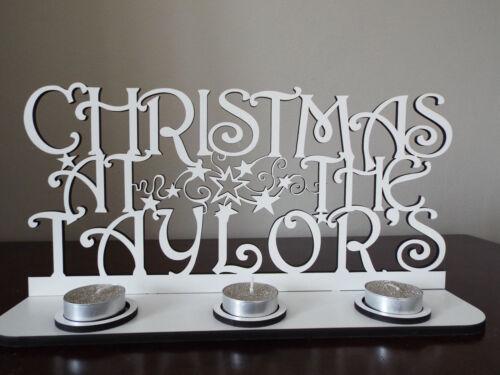 personnalisé Tea Light Holder avec votre nom peinte en blanc Christmas at..