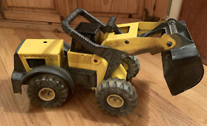 Vintage-1980-s-Yellow-Metal-Tonka-Truck-Front-End-Loader