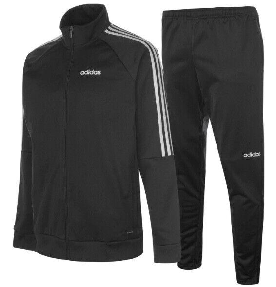 premium selection 9d6de 8aa11 Adidas 3 a Righe Tuta Uomo Tuta Tuta per Jogging Jogging Jogging Nero  Bianco Sport 1147b1