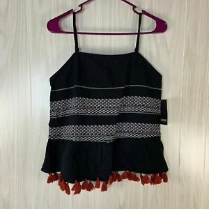 NWT a.n.a. Sleeveless Boho Cami Peplum Top Women's Size M Black Embroidered
