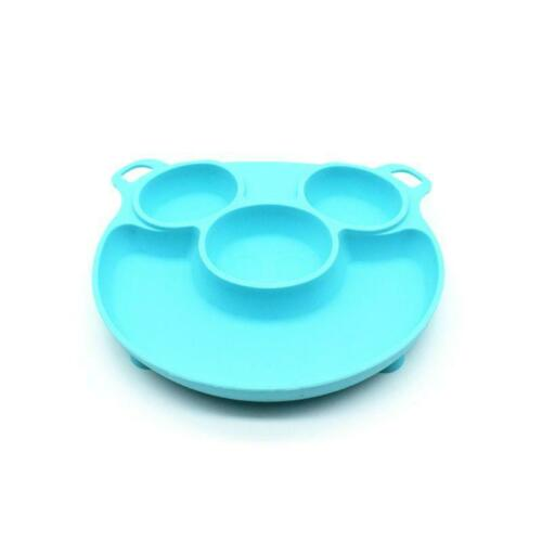 Silicone Divided Toddler Baby Plate with Suction Base Table Feeding Food Tray