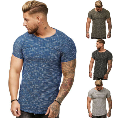 Summer Men T-shirt Casual Tops Blouse Slim Fit O Neck Short Sleeve Muscle Tee