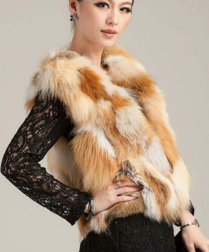 Real natural genuine fox fur vest women/'s fashion jacket ladies coat gilet