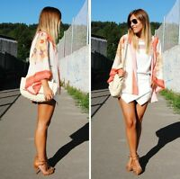 UK Vintage Retro Womens Boho Hippie Loose Style Kimono Coat Cape Blazer Jacket