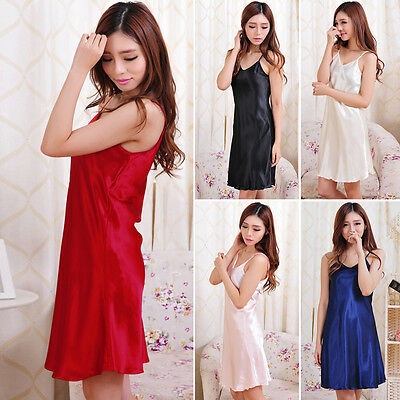 Womens Sexy Nightgown Satin Slip Night Dress Lingerie Silk Underwear Sleepwear